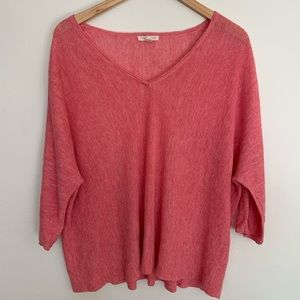 Eileen Fisher 100% linen salmon color knit top